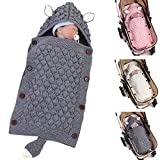 Haokaini Newborn Baby Hooded Sleeping Bags, Warm Swaddling Blankets Wraps for Infant, Ear Tail Design Knitted Crochet Swaddle Sack-Grey