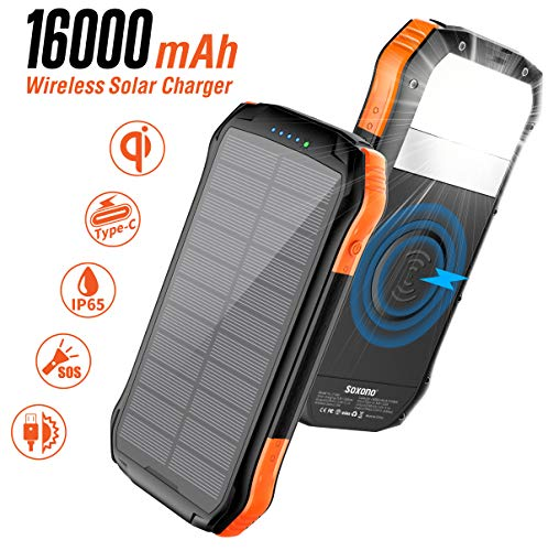 Solar Power Bank, Soxono 16000mAh Solar Charger with Qi Wireless Charger and 2 USB Port Ultra Waterproof Portable Phone Charger External Battery Pack with 15 LEDs Flashlight for iPhone, iPad, Samsung