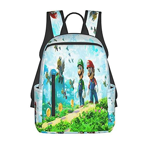Mochila escolar para niños/niñas y adolescentes divertida impresión 3d Su-Per Poster Ma-Rio moda senderismo portátil mochila, Negro 7, Talla única