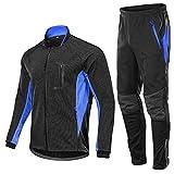 Giacche da Ciclismo Set Cycling Jacket da Uomo in Pile Invernale Antivento da Bike Termica per Sport all'Aria Aperta Pantaloni da Bici Abbigliamento Invernale da Bicicletta(Color:Blu,Size:XL)