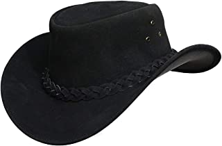 Mens Suede Leather Down Under Cowboy Aussie Outback Hat