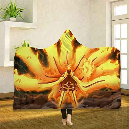Anime Naruto Impresión 3D Uchiha Shippuden Manta de lana con capucha Tamaño doble Manta de felpa gris de doble cara Manta suave y difusa Lujosa y acogedora para todas las estaciones Colo B_130 * 150cm