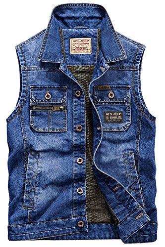 YYZYY Herren Klassik Trucker Jeansjacke Jeans ärmellos Denim Jacke Westen (EU/DE X-Large, Blau)