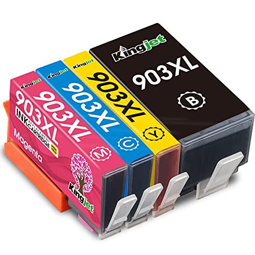 Kingjet Nuovo Chip 903XL Compatibile HP 903 903XL Cartucce d inchiostro per HP OfficeJet pro 6950 6970 6960 All-in-One stampante (Nero Ciano Magenta Giallo)