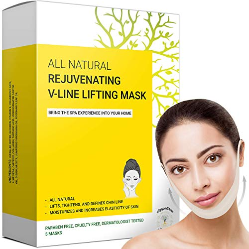V Line Lifting Mask - Double Chin Reducer & Remover, Face Slimmer - Lifts, Tightens Jawline and Chin - Formulated in San Francisco (5 Masks)