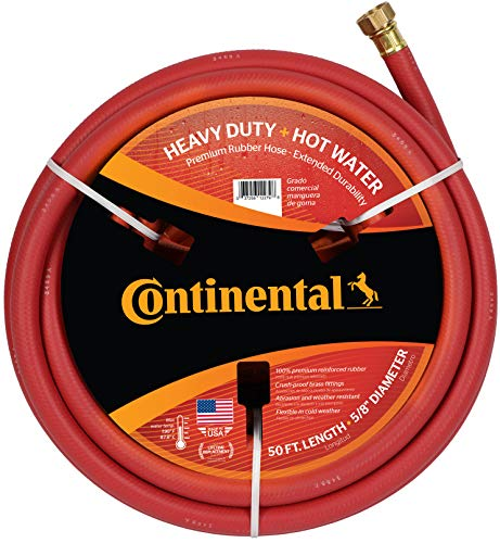 "Continental Premium Garden Hose, Heavy Duty Hot Water Red EPDM, 5/8"" ID x 50'"