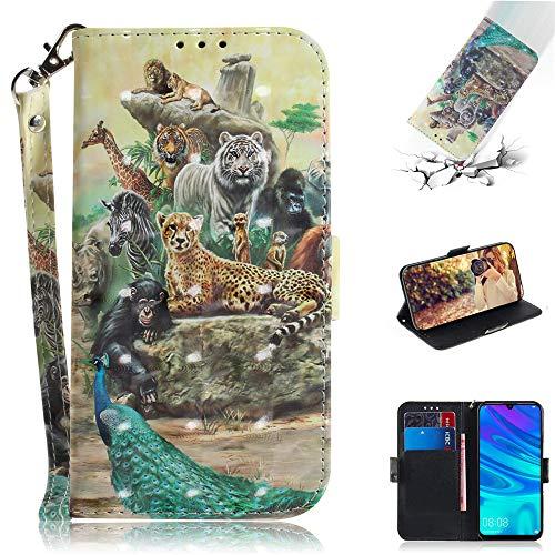 Capa tipo carteira XYX para iPhone SE, [pulseira] Capa protetora tipo carteira de couro PU colorida para iPhone 5s / iPhone SE (Zoo)