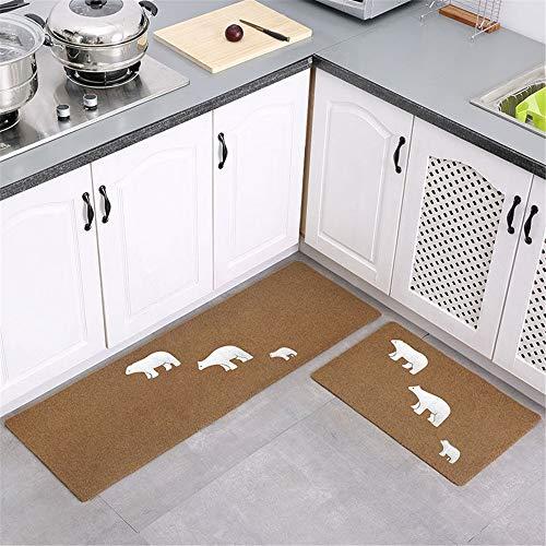 YUNSW Küchenmatte 2 Teiliges Set Wasserabsorbierend Ölabsorbierend rutschfeste Matte Haushaltstürmatte Rechteckteppich