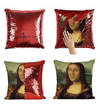 Mona Lisa Nicolas Cage P116 Sequin Pillow Sequin Pillowcase Funny Pillow Two Color Pillow Present Pillow Gift for her Gift for him Magic Pillow [Cover Only]