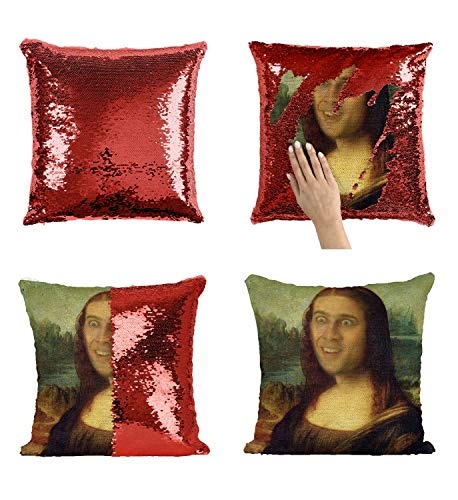 Mona Lisa Nicolas Cage P116 Sequin Pillow, Kissen, Funny Pillow, Sequin Pillowcase, Two Color Pillow, Gift for him her, Magic Pillow, Mermaid Pillow Cover, Kissenbezug, [with Insert]