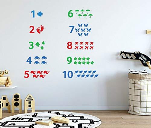 Kinderkamer muurtattoo cijfers kinderen wandtattoo één tot tien aantal stickers speelkamer wandtattoo vorming sticker vinyl sticker kinderkamer sticker