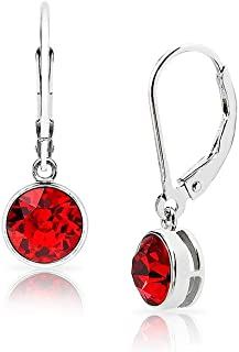 SolidSilver - Sterling Silver 6mm Round Solitaire Dangle Leverback Earrings Made with Swarovski Crystal | Sterling Silver,...