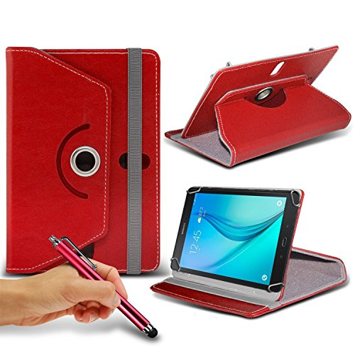 N4U Online - Red Tablet Luxury 360° Rotating PU Leather Wallet Spring Stand Skin Case Cover & Touchscreen Stylus Pen For BTC Flame Tablet