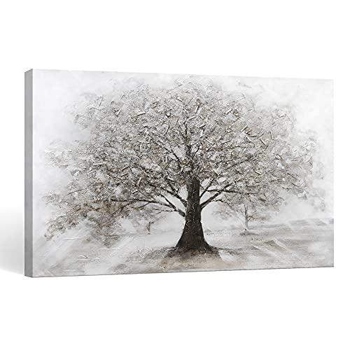 SUMGAR | Cuadros Pintados a Mano Árbol de la Vida | Cuadros Modernos al oleo Acrilico | 80 x 120 cm | Lienzo Pintados a Mano | Cuadros Estar Dormitories | Gris