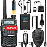 Ham Radio Walkie Talkie (UV-5R Pro) Dual Band 2-Way Radio with 2 Rechargeable 2100mAh Battery Handheld Ham Radio Full Kit with Handheld Mic, Earpiece, and Programming Cable