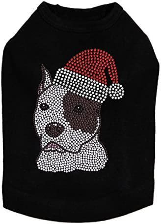 Pit Bull with Santa Hat - Christmas cheap Shirt Rhinestone Dog Bling Challenge the lowest price