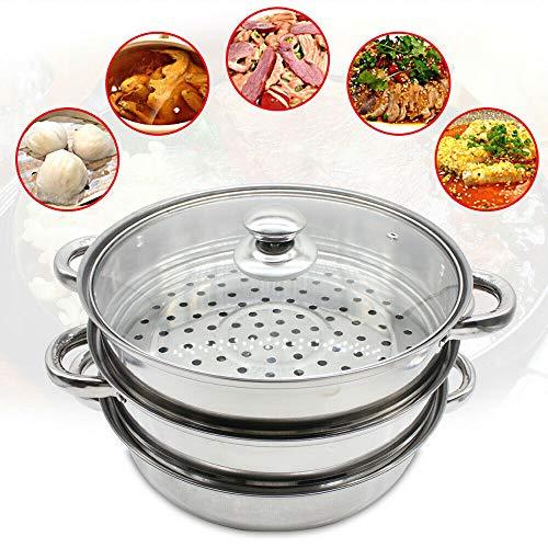 Berkalash 3-stöckiger Dampfgarer, Edelstahl Küche Dampfgarer mit belüftetem Glasdeckel, stabile Stahlgriffe, Durchmesser 28 cm, Dampfgarer für Gemüse und Fleisch