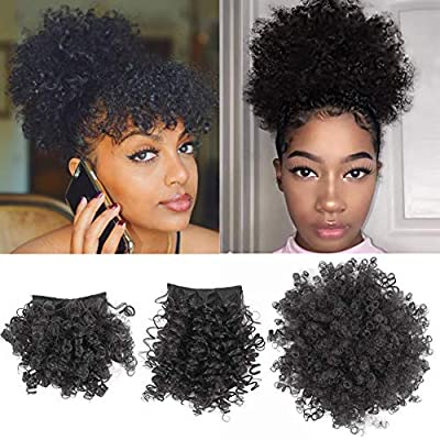Afro Puff Drawstring Ponytail with Bangs Pineapple Updo Hair for African American Women,Short Kinky Curly Ponytail Bun with 2 Replaceable Bangs