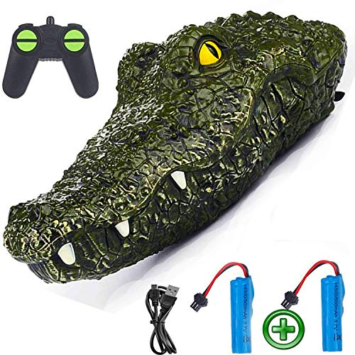 Floating Simulation Alligator Head Remote Control Boat Boys and Adults 15 KM/h- Fake Crocodile Head RC Boats for Pools and Lakes, Gift Toys for Kids Rechargeable
