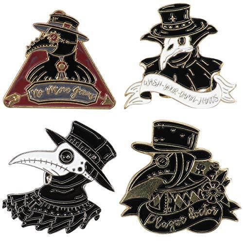 Lurrose 4 broches punk de cuervo de la peste doctor de pájaro Bill Crow Series Broche de vaquero, Black, 3X2.2CM,