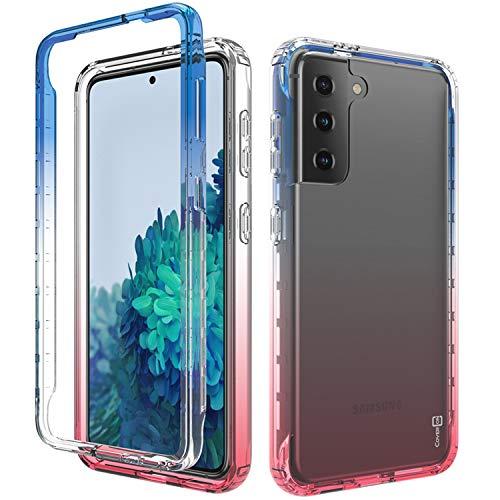 CoverON Schutzhülle für Samsung Galaxy S21 Plus 5G, Farbverlauf-Design, transparent, robust, Blau / Pink