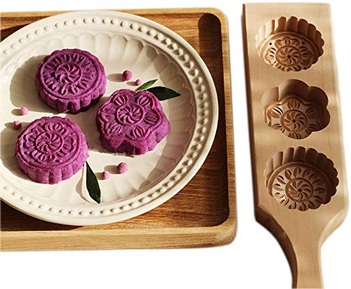 Wooden Moon Cake Wooden Baking Mold - Cookie Stamps MoonCake Mold Chinese Traditional Mid-autumn Festival Moon Cake Mold 3 Flower Shape for Muffin Mooncake Cookie Biscuit Chocolate Pumpkin Pie