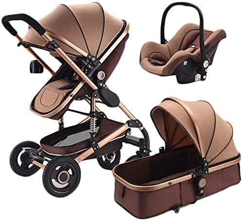 DGSD Strollers triple strollers multifunction dual-use high-lying landscape shockproof portable collapsible stroller travel,Brown