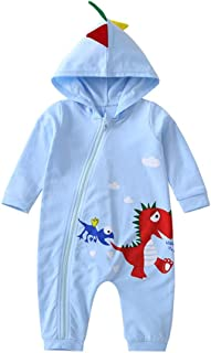 4SDOT Infant Baby Boy Girl Cartoon Clothes Dinosaur Shark Hoodie Romper Jumpsuit Onesie Outfit Set …