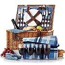 4人用のふた付き柳織ピクニックバスケット、枝編み細工品セット、ポータブル屋外ピクニックバスケット収納バスケット