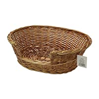 Traditional wicker handcrafted for strength Suitable for small dogs and cats Low step over entry to allow easy access Attractive design for use around the home Size: 58 x 49 x 20 cm