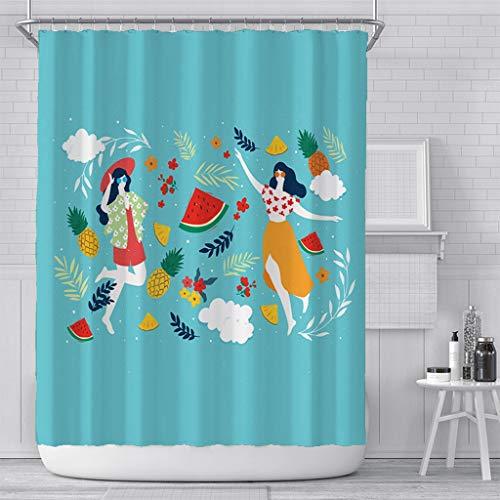 duanyunmei Obstdruck Duschvorhang Badezimmer wasserdicht Polyester Zitrone Pfirsich kreativen Druck Bad Vorhang mit Haken neu