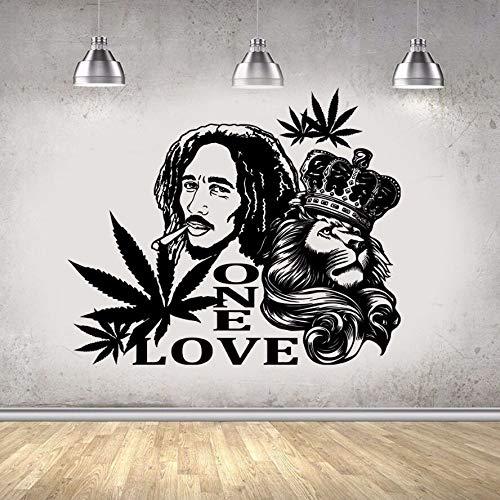 Reggae Music Singer Star Bob Marley Lion King Crown Hoja de arce UN AMOR Etiqueta de la pared Calcomanía de vinilo Fans Dormitorio Sala de estar Club Studio Decoración para el hogar Mural