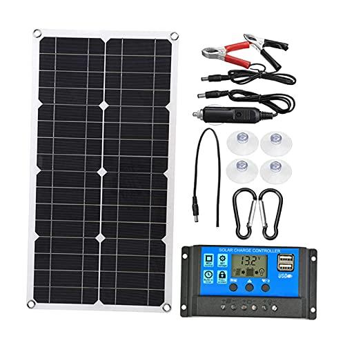 gazechimp Kit de inicio solar monocristalino de 100 vatios, accesorios de controlador de carga de batería para caravanas, barcos, caravanas, aplicaciones fuera - 1Set 20AController