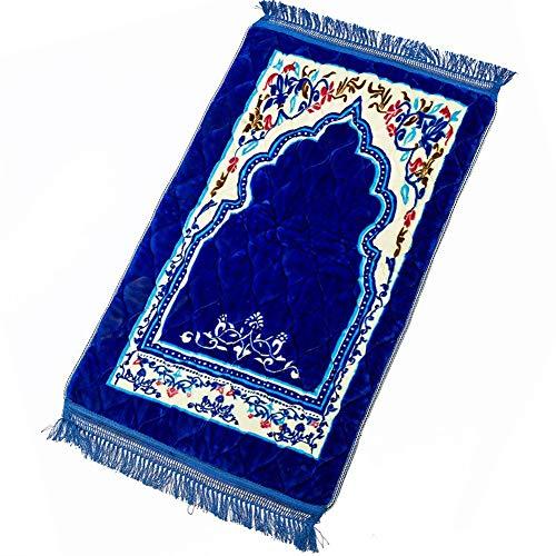Xnxn Islamisch-türkisches Luxusgebet Lumpen Mit Quaste,gewebte Teppich Namaz Seccade Türkische Matte Teppich Floral Moschee Janamaz Sajadah Blau 75x120cm