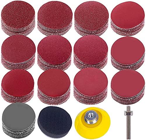 Kit de almohadillas de discos de lijado, 50 mm de grano 80-3000, placa de respaldo Uspacific de 1/4 pulgadas de mango de esponja cojines para herramientas rotativas de taladro (130 piezas)