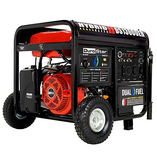 DuroStar DS13000EH Dual Fuel Portable Generator-13000 Watt Gas or Propane Powered Electric Start-Home Back Up & RV Ready, 50 State Approved, Red Black