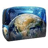 Bolsa de tocador de Viaje Imagen de la Tierra portátil PVC Bolsa de cosméticos de Vistoso de Organizador de Maquillaje con Cremallera Apto para niñas 18.5x7.5x13cm