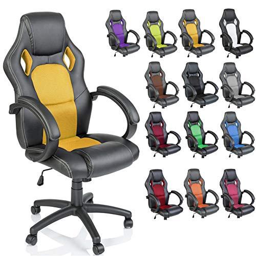 TRESKO Silla giratoria de oficina Sillón de escritorio Racing disponible en 14 colores, bicolor, silla Gaming ergonómica, cilindro neumático certificado por SGS (Negro/Amarillo)