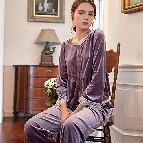 STJDM Bata de Noche,Winter Purple Women Sleep Pajama Sets...
