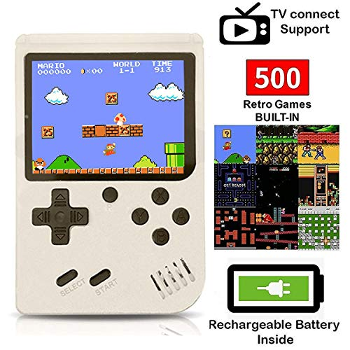 O RLY 500 in 1 Handheld Spielkonsole Retro FC Plus Konsole 500 Retro Classic Spiel, 3 Zoll Bildschirm Mini Videospiel-Spieler (Weiß)