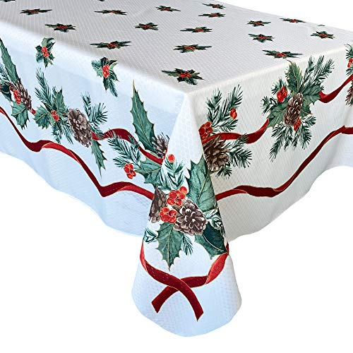 Lintex Evergreen Garland Double Ribbon Bordered Cottage Christmas Tablecloth, Holly and Pine Cone Country Xmas Holiday Easy Care Fabric Tablecloth, 60 Inch x 120 Inch Oblong/Rectangle