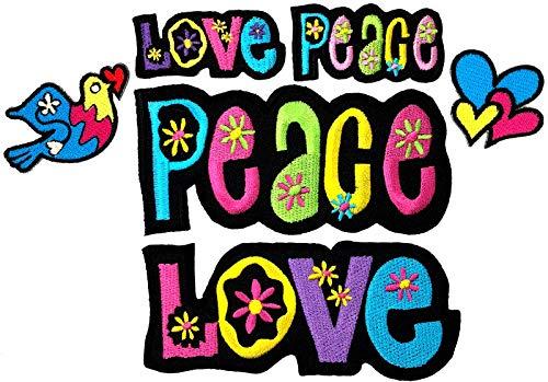 i-Patch - Patches - 0167 - Applikationen - Stickerei - Love - Peace - Herz - zum aufbügeln - Aufnäher - Bus - Aufbügler - Hippie - Flower- Power - Frieden - Liebe - Flicken - Bügelbild
