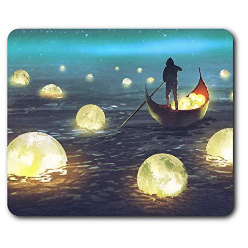 Komfortable Mausunterlage - Ruderboot River Moon Fantasy für Computer & Laptop, Büro, Geschenk, rutschfeste Unterlage