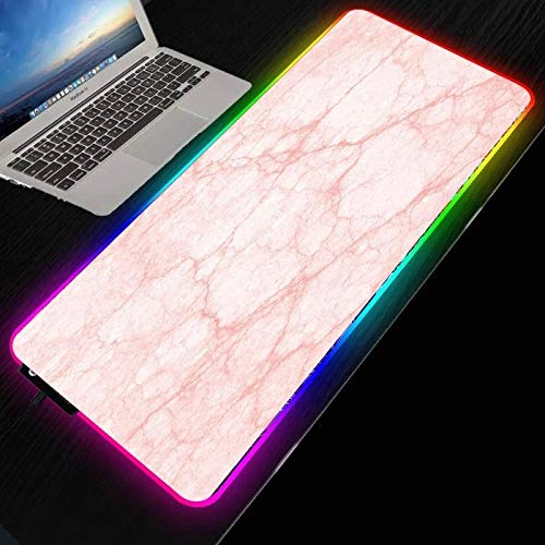 Pink Marble RGB Gaming Mouse Pad Mat - Soft Non-Slip Rubber Base Led Light up Mousepad, Computer Keyboard Mice Mat for PC, Laptop, Desk 11.81'x27.56'