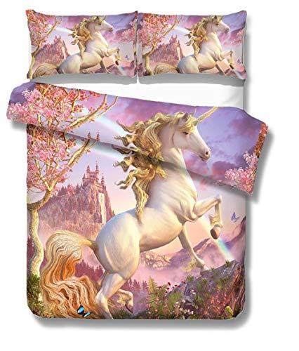Bevvsovs 3D Printed Duvet Cover Set Cartoon White Animal Unicorn Super King 260 X 220 Cm (1 Zipper Opening And Closing Duvet Cover + 2 Pillowcases 50X75Cm) Superfine Fiber Soft And Exquisite Duvet C