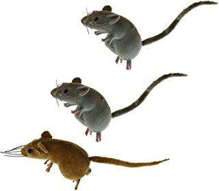 MIYU 3 Pieces Realistic Mouse Sculpture Lifelike Mice Ornament Animal Statues For Outdoor Garden Lawn Decor