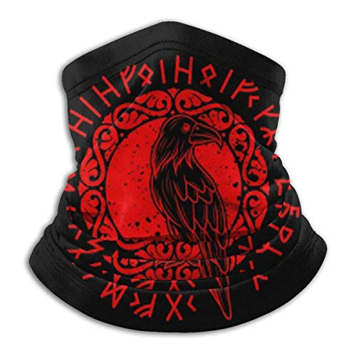 Polaina para el cuello Odin Ra-v-en Vikings Runes Huginn Muninn Myth Gift Mascarilla para el cuello, polaina multifuncional pasamontañas Bandana para exteriores
