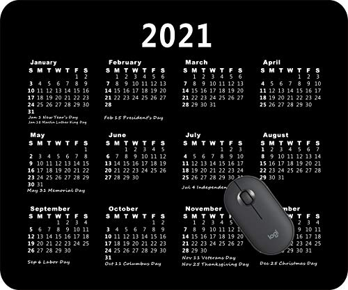 2021 Calendar Mouse pad Gaming Mouse pad Office Mousepad Nonslip Rubber Backing-Elegant Marble - Black