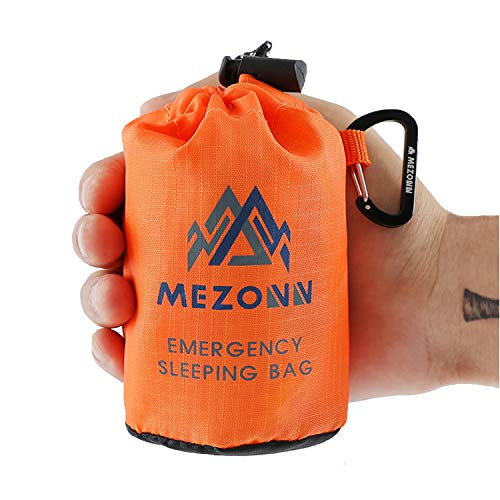 Mezonn Emergency Sleeping Bag Survival Bivy Sack Use as Emergency Blanket Lightweight Survival Gear for Outdoor Hiking Camping Keep Warm After Earthquakes, Hurricanes and Other disasters