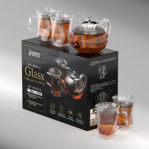40 Oz Unique Tea pot Set, Glass teapot Set with 4 double wall insulated Glass Cups, Tea Kettles Stovetop, Tea maker With Infusers For Loose Tea, Infuser Glass tea Kettle, Perfect Mom Gift